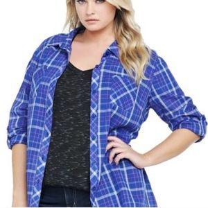 TORRID | High Low Button Down Plaid T-Shirt 1X